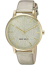 Nine West Women's NW/1958CHGD Glitter Accented Gold-Tone Strap Watch