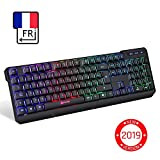 KLIM Chroma Clavier Gamer sans Fil AZERTY FRANÇAIS - Haute Performance - Clavier Éclairé Chromatique Gaming Noir RGB PC Windows, Mac PS4 [ Nouvelle Version 2019 ]