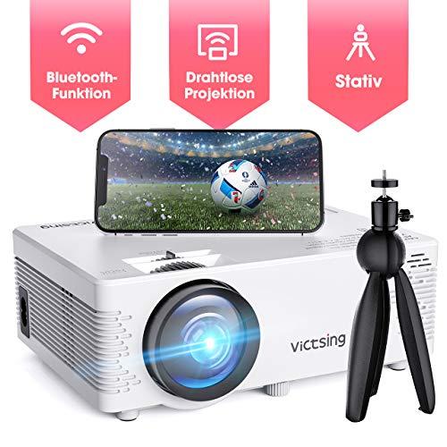 Mini Beamer, VicTsing WiFi Beamer Full HD 4500 Lumen Bluetooth LED Projektor, 1080P HD 170 '' Display 50000 Stunden, Wireless Video Beamer Kompatibel mit Smartphone, TV Stick, HDMI, VGA, SD, AV, USB -