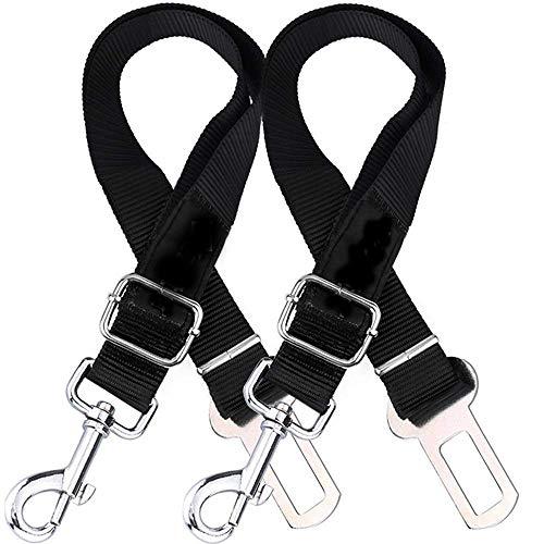 Verigle Verstellbarer Sicherheitsgurt für Hunde und Katzen, Nylongewebe, Schwarz, 2 Stück - Stauraum-insel