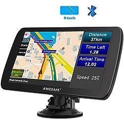 AWESAFE 9 Pulgadas GPS Camiones con Bluetooth Pantalla LCD, Navegador GPS para Coche y Camión con Actualizaciones de Mapas de Europa de por Vida