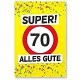 DankeDir! 70 Alles Gute - Kunststoff Schild (Gelb), Geschenk 70. Geburtstag, Geschenkidee Geburtstagsgeschenk Siebzigsten, Geburtstagsdeko/Partydeko / Party Zubehör/Geburtstagskarte