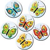 Kühlschrankmagnete Schmetterlinge Magnete für Magnettafel Kinder stark 6er Set mit Motiv Tiere lustig groß rund 50mm Bunt