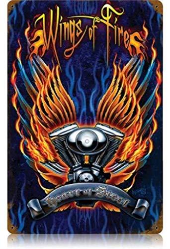 JIA KOAH Wings of Fire Zinn Wand Zeichen Retro Plaque Hof Vintage Metall Kunstwerk Poster Dekoration Souvenir Fender Metallschild