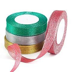 Idea Regalo - FEPITO 2 Confezione da 20 mm Wide Red e Green Glitter Ribbon Wide Glitter Glitter Glitter Organza Nastri per l'artigianato Decorazione Natalizia Decorazione per Feste Confezione Regalo di Natal