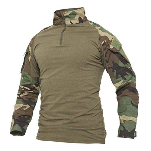 BLF Herren Langarm Slim Baumwollhemd Fit Shirt, Schlank Passen Taktische Tarnung Jagd-Kleidung T-Shirt Camo Militär Tarnung Jacke Kampf Lange Hülse Shirts Outdoor Jagd Military Shirt