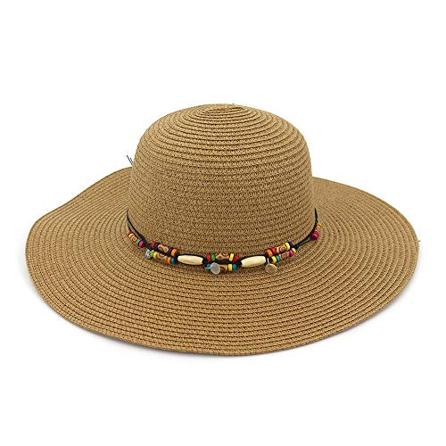 LUZIWEN Nouveau Parasol Chapeau de Plage Grand Le Long du Chapeau Mode Femmes Sauvages Chapeau Chapeau de Paille Vacances d'été Chapeau de Soleil (Couleur : Café, Taille : 56-58CM)