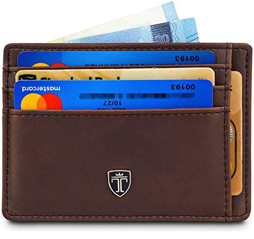 TRAVANDO  Portafoglio uomo 'MACAO' Porta carte di credito, Portafogli slim con Clip per Contanti, Porta tessera piccolo slim tascabile, Protezione RFID, Raccoglitore tessere banconote (Marrone)