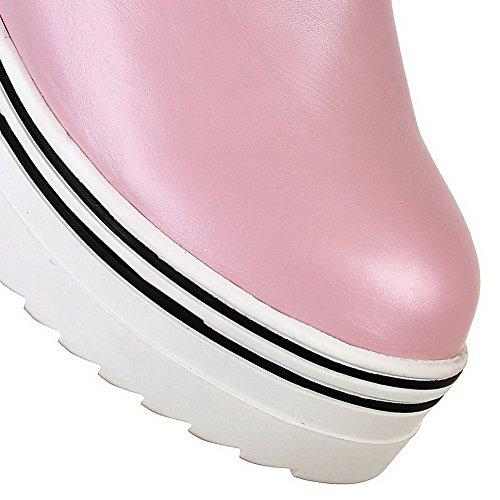 VogueZone009 Donna Alta Altezza Puro Cerniera Tacco Alto Stivali con Metallo Rosa