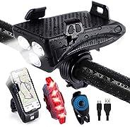 Luz Bicicleta Recargable Impermeable, Uplayteck 4 en 1 Luces Bicicleta Delantera y Trasera Recargable USB, Bat
