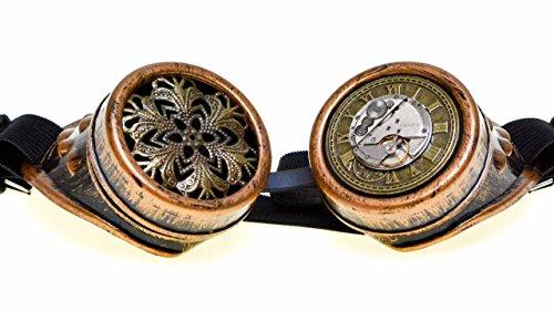 Steampunk Brille Steampunk Goggles mit echtem (Kostüme Uhrwerk)
