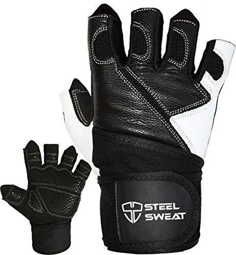 Steel-Sweat-Weightlifting-Gloves-18-inch-Wrist-Wrap-Support-for-Workout-Gym-and-Fitness-Training-Best-for-Men-and-Women-Who-Love-Weight-Lifting-Leather-ZED-Black-XL