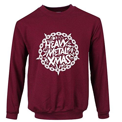 en Sweater Heavy Metal Christmas Weihnachten Burgund ()