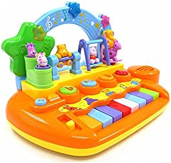GoAppuGo Baby's Plastic Amazing Piano with Dancing Animals, Lights, Sounds- Gift for 1 Year Boy/Girl or 2-3 Yr Old (gag-etoy-85, Multicolour)