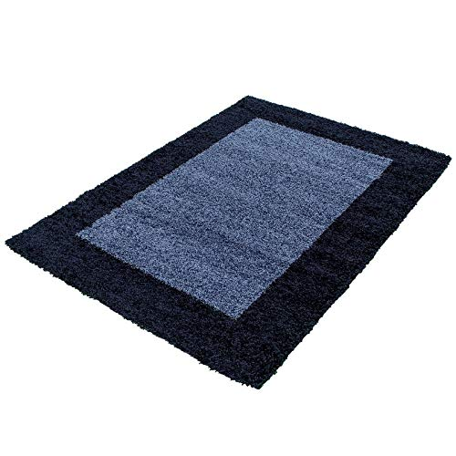 Carpetsale24 - tappeto a pelo lungo shaggy, in polipropilene, 80 x 250 cm, colore: blu navy