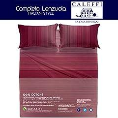 Idea Regalo - Caleffi Marsala Completo Letto Matrimoniale Set Lenzuola Sopra Sotto Federe 100% cotone tinto in pezza made in italy