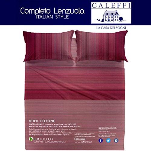 Caleffi marsala completo letto matrimoniale set lenzuola sopra sotto federe 100% cotone tinto in pezza made in italy
