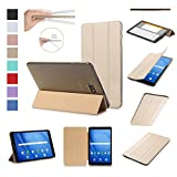 ISIN Tablet Case Series Premium PU Leather Smart Shell Case for Samsung Galaxy Tab A 10.1 inch SM-T580N T585N Android 6.0 Marshmallow Tablet (Gold)