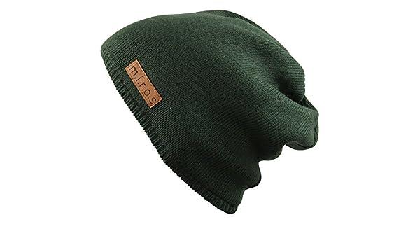 handgemachte Wintermütze von m.i.r.o.s Damen Long Beanie Mütze Mika Olive Grün