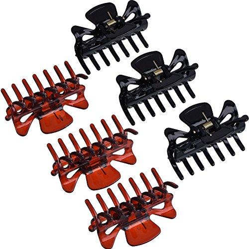 6 Stück Kunststoff Haarspangen Klaue Damen Haar Klaue Schellen Haarnadel (Schwarz und Braun)