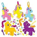 """Mix & Match-Deko-Aufhänger """"Pretty Pony"""" für Kinder zum Gestalten und Aufhängen – Bastelsets für Kinder (6 Stück)"""