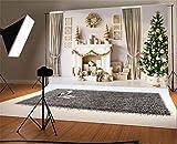 YongFoto 3x2m Vinyl Foto Hintergrund Weihnachten Baum Geschenke Kamin Garland Socks Curtain Interior Fotografie Hintergrund für Fotoshooting Portraitfotos Party Kinder Hochzeit Fotostudio Requisiten
