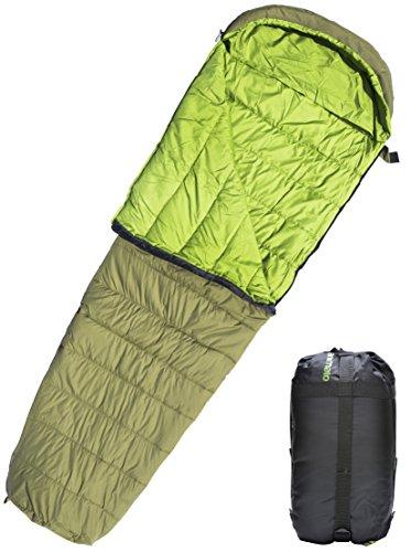 Animato Sac de couchage sarcophage léger et imperméable pour camping, randonnée, bivouac, avec sac de rangement Sac de couchage 3 saisons ultra léger pour homme ou femme, adulte ou enfant Vert olive, droite zip