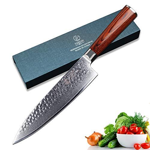 Yarenh coltelli giapponesi professionali 20cm,coltello cucina chef in acciaio giapponese damasco,coltello giapponese damascato ultra tagliente,coltello cucina chef hyz-serie