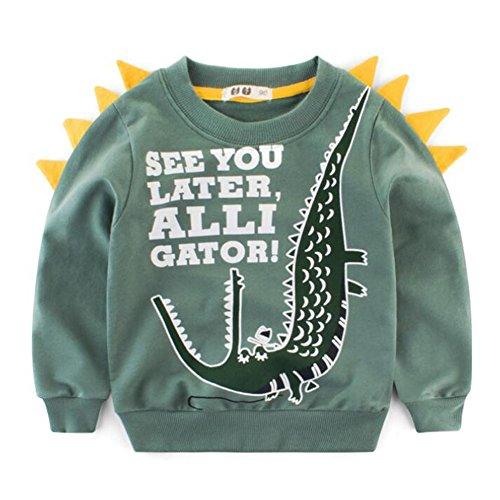 Juleya Sweatshirt de bébé de Dinosaure de garçons, Coton de Hoodies Mignon à Manches Longues Chemise Chaude d'hiver Green Dinosaur 3T