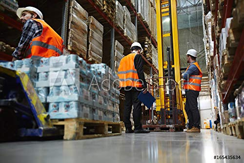Wunschmotiv: Group of Several loaders Working in Warehouse Aisle Between Tall Racks, Moving pallets with Packed Goods #165435634 - Bild als Klebe-Folie - 3:2-60 x 40 cm / 40 x 60 cm
