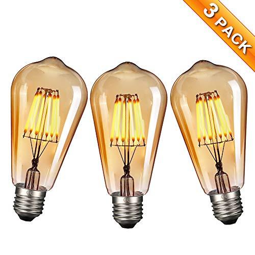 Vintage Edison LED Glühbirne, Elfeland 3X E27 Antike LED Filament Lampe Ersetzt 60W (6W, 2200K, Dimmbar, Beliebtstes Modell ST64) Ideal für Nostalgie und Retro Beleuchtung -