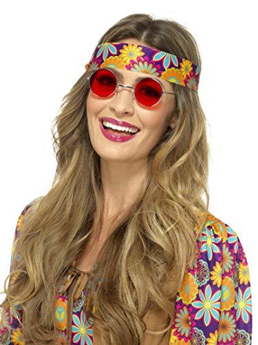 (Smiffys 43062 Hippie Specs, Rot, Einheitsgröße)