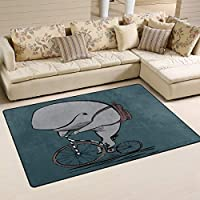 Mnsruu Area Rug, Cartoon Whale Non Slip Nursery Rug Floor Carpet Yoga Mat for Living Room Bedroom 1.7