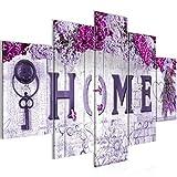 Bilder Home Blumen Wandbild 150 x 100 cm Vlies - Leinwand Bild XXL Format Wandbilder Wohnzimmer Wohnung Deko Kunstdrucke Violett 5 Teilig - MADE IN GERMANY - Fertig zum Aufhängen 503653b