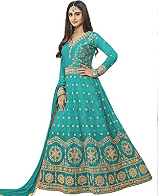 Lajree Designer Women's Silk New Arrival Fancy Salwar suit for Wedding Wear Punjabi Salwar Kameez Floor Length semi stitched Turquoise color(LN-12102)