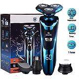 Afeitadora Electrica Hombre, Máquina de Afeitar Eléctrica IPX7 Impermeable Húmedo & Seco USB Quick Recargable Cortadoras de vello facial (BLUE)