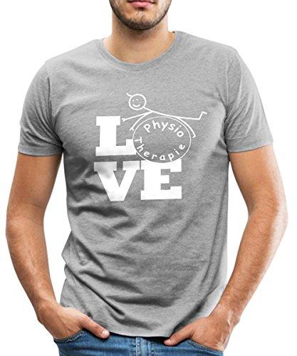 Spreadshirt Love Physiotherapie Männer Premium T-Shirt, S, Grau Meliert