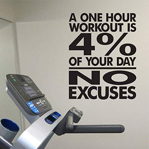 SLQUIET DIY Keine Entschuldigungen Workout Room Wandtattoos Gym Wandaufkleber Gewicht Zimmer Fitnessraum Home Gym Schlafzimmer Dekoration Wandaufkleber lila 72x57 cm