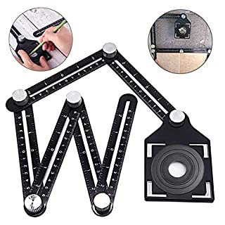 LIUMY Multi-Angle Measuring Ruler, Aluminum Alloy Metal Angleizer Template Tool, Six-Sided Folding Ruler with Ceramic Tile Punch Locator for Designers, Builders, Carpenters, Tilers, Craftsmen