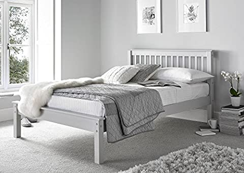 Happy Beds Grace Low Foot End Bed Grey Wooden Frame Only 4'6'' Double 135 x 190 cm