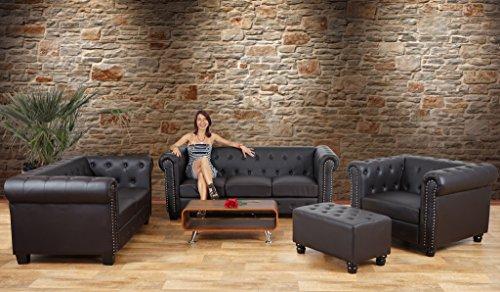 Luxus 3er Sofa Loungesofa Couch Chesterfield Kunstleder ~ runde Füße, schwarz - 4