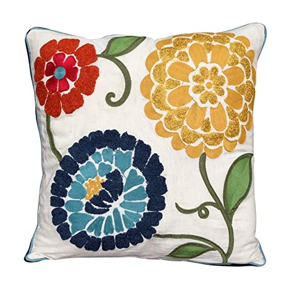 AJS Living Square Cushion with Cover Embroidered Design, Pillow for Home Decor, Takiya Covers, Decoration Cushions Size - 18 * 18