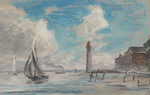 Das Museum Outlet-Honfleur. Seashore. Leuchtturm und Schiff-A3Poster