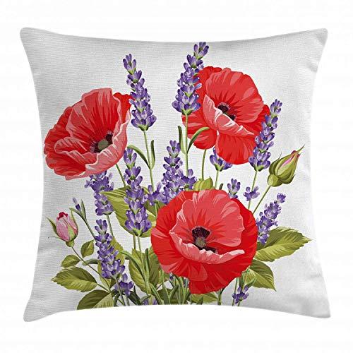 Koore Lavendel Dekokissen Kissenbezug, Bund Lavendel und Mohn Blumen frischen rustikalen botanischen Bouquet, dekorative quadratische Akzent Kissenbezug, 18 X 18 Zoll, rot violett Olivgrün -