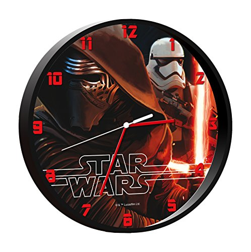 Star Wars - Reloj de Pared, Color Negro (Kids SWE-7010)