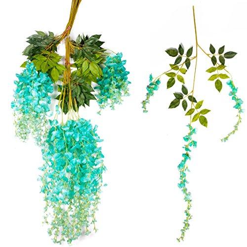 Zpollo 12Stück Künstliche Seide Wisteria Vine Rattan Zum Aufhängen Blume für Party Home Hochzeit Dekor, Sky Blau