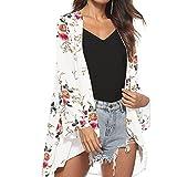 MRULIC Mode Damen Chiffon Schal Kimono Cardigan Top Cover up Bluse Beachwear(Weiß 2,M)