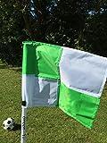Juego de cuatro banderines de esquina plegables, con bolsa para transportar, White / Green Chequered