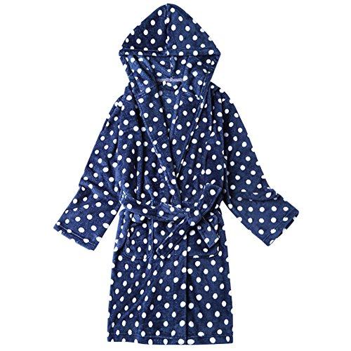 Frauen langes gewand aus polyester pyjama Langarm Weiches Gemütlich Flanell Nacht-robe Sweet Schöne] Verdicken sie Nachtwäsche-D L (Runder Muster Dots Kragen)