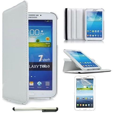 Blanco white Funda Carcasa cubierta Cuero + Stylus + protector de pantalla Para Samsung Galaxy Tab 3 7.0 Lite SM-T110
